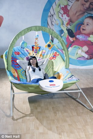 Whos a big baby Huge adultsize bouncy chair gives