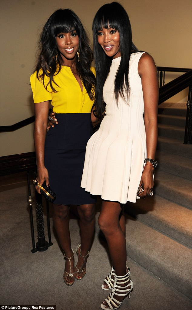 Youthful beauties: Kelly Rowland and Naomi Campbell have a 10-year age gap