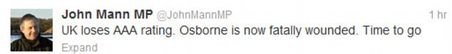 Big problems: Select Treasury member John Mann voiced his opinion on Twitter