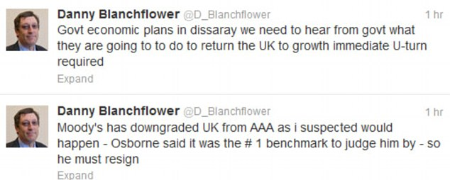 Out: Former Bank of England Policy member David Blanchflower has called on Osborne to resign