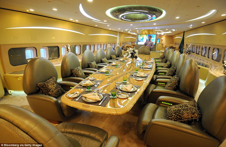 Plush: The dining facilities on board Saudi Prince Al-Waleed bin Talal's private Boeing 747. The prince owns several planes, one of which includes a concert hall complete with a grand piano