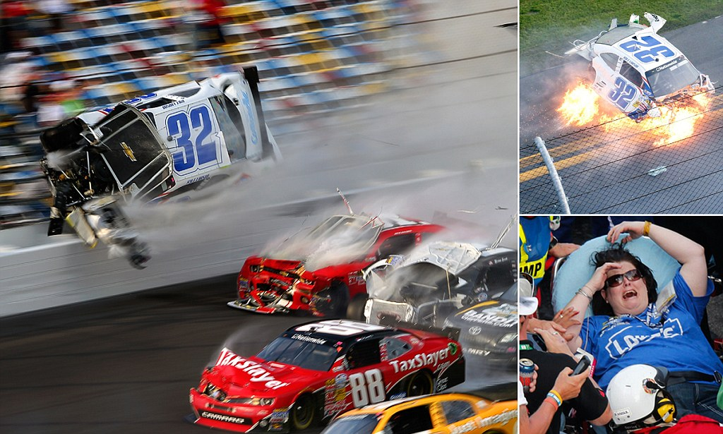 Massive Fiery Car Wreck During Nascar Race At Daytona
