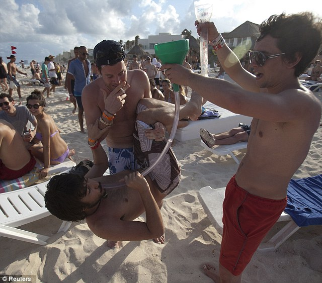 Heavy drinking: Party-goers typically engage in heavy drinking in the Spring Break hotspot, pictured