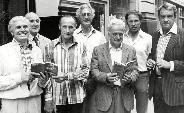 Gang: Reynolds, centre, with his accomplices Buster Edwards, Tom Wisbey, Jim White, Roger Cordrey, Charles Wilson and Jim Hussey in 1979