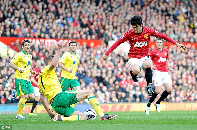Not this time: Norwich defender Michael Turner (left) snatches the ball away from Kagawa