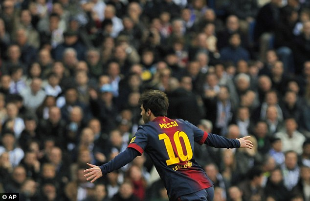 Equaliser: Lionel Messi levelled the scores for Barcelona on 17 minutes with his 50th goal of the season