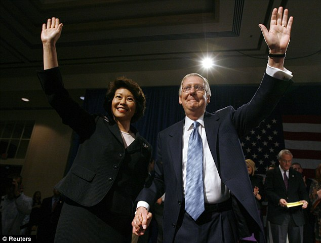 Power couple: Chao, left, emigrated with her family from Taiwan when she was eight years old, and she married McConnell, left in 1993