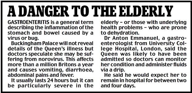 Danger to the elderly