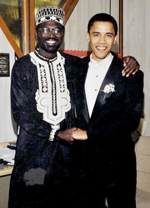 Siblings: Malik Obama (left) with Barack Obama at his wedding to Michelle. The US President asked his half-brother to be best man at the ceremony
