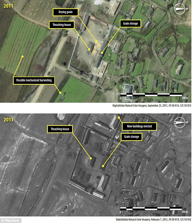 The images show that between 2006 and 2013, North Korea has constructed 20 km (12 miles) of posts around the Ch'oma-Bong valley located 70km north of Pyongyang.