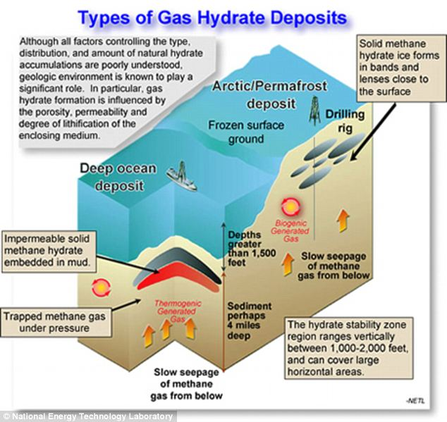 Methane hydrate is formed within marine sediments or beneath permafrost where chemical reactions or microbes break down organic matter to produce gas which then freezes under high pressure