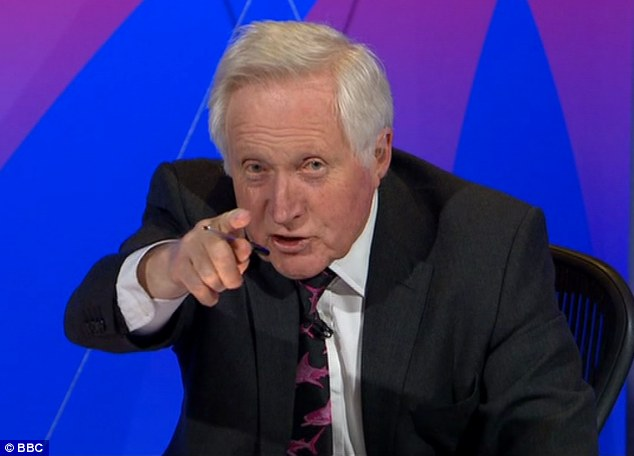 Right to reply: Question Time presenter David Dimbleby, demanded Diane James to answer Miss Rutland's allegation that she was ¿disgusting¿