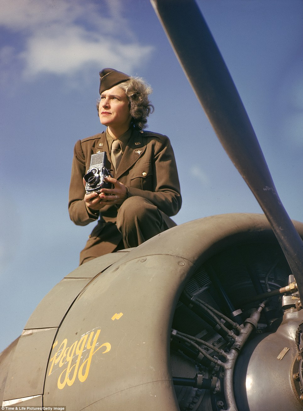 Trailblazer: American photographer and journalist Margaret Bourke-White was the country's first accredited female photographer during WWII, and the first authorized to fly on a combat mission