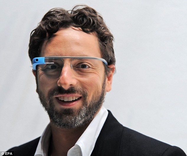 Google co-founder, Sergey Brin models Google glasses before the Diane Von Furstenberg fashion show during Mercedes-Benz Spring Fashion Week in New York, in September 2012