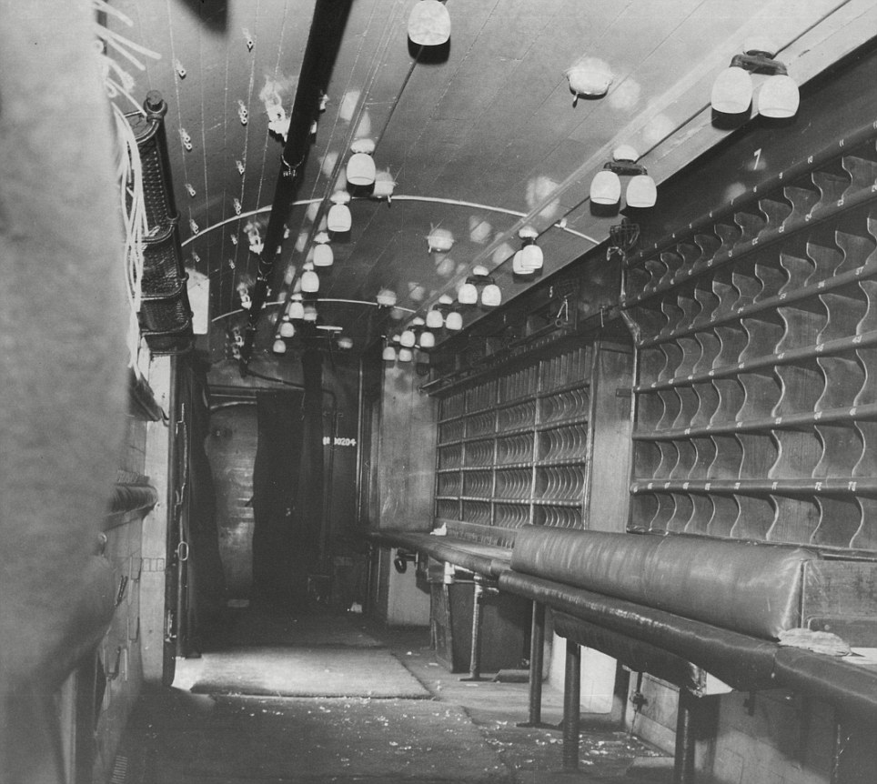 Carnage: Inside a carriage of the mail train in the aftermath of the robbery in 1963