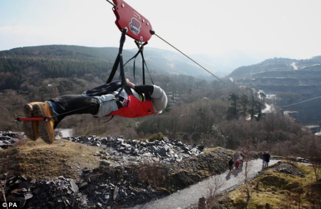 4 man zip wire wales 2001 s10 brake light wiring diagram welsh zoom with a view on the big zipper down mile long northern hemisphere s largest opened in penrhyn quarry bethesda bangor north
