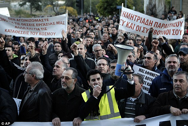 Demonstration: Thousands of bank employees protest outside the Ministry of Finance in Cyprus yesterday