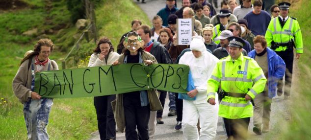 Anti-GMO crop demonstrators from the radical green group Earth First have led protests in Scotland, England, the United States and other countries