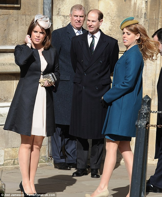 Family occasion: The royal sisters joined their father and uncle for the Easter Matins service in Windsor