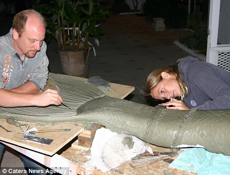Special effect: Linden working with artist Allan Holt on her mermaid tail