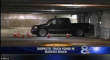 Clue: Officials searching for Cole and Chase Hakken came across the black 2006 GMC pickup belonging to the boys' father on the second floor of the John's Pass garage in Madeira Beach