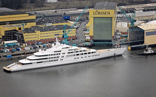 Longer than some cruise ships: Azzam has been described as the 'most complex and challenging yacht' ever built