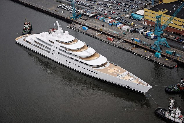 You wouldn't want to turn around in a hurry: Azzam is 54ft longer than Abramovich's yacht Eclipse