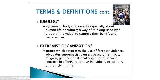 EXTREMIST ORGANIZATIONS: The presentation described groups like the religious organizations as advocating force, violence or extremist causes