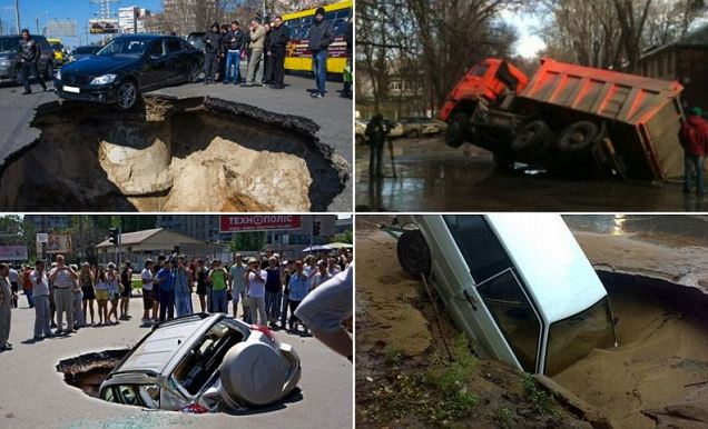 Holes have opened up across Samara, the sixth largest city in Russia, swallowing cars and leaving a trail of devastation in their wake