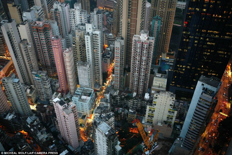 City dwellers: Hong Kong is home to a population of more than seven million people, squeezed into an area measuring just 424 square miles