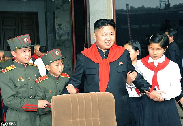 Sabre-rattler: In a speech to mark the organisation's 66th anniversary last June, Kim told the young delegates they were the future masters of 'a most powerful country'