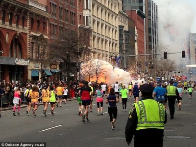 This image shows the two separate explosions at the finish line of the Boston Marathon