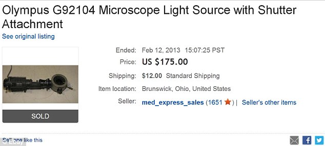Microscope light that began a lawsuit: Ms Nicholls purchased this $175 light on eBay and paid $12 postage