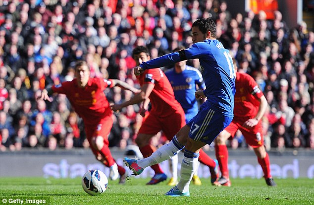 Calm: Eden Hazard converted the penalty to put Chelsea back ahead at Anfield