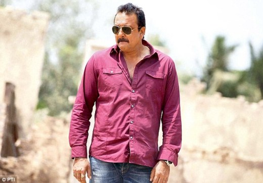 Granted more time: Actor Sanjay Dutt during shooting of the film 'Policegiri' at a studio in Mumbai