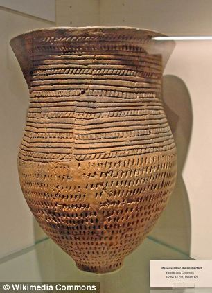 Beaker folk, lived about 4,500 years ago in the temperate zones of Europe and received their name from their distinctive bell-shaped beakers, decorated in horizontal zones by finely toothed stamps