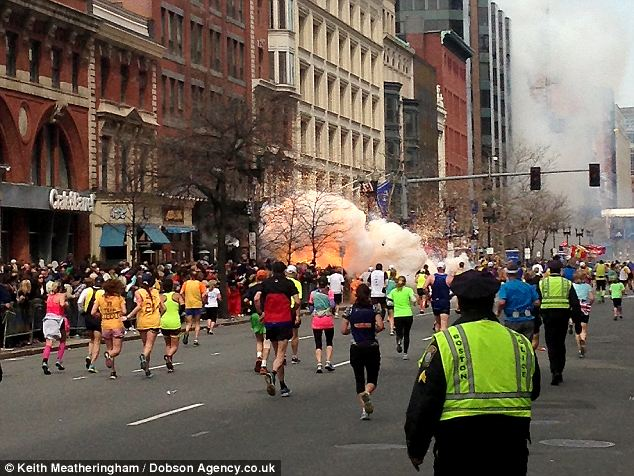 The moment of the explosion at the Boston Marathon finish line