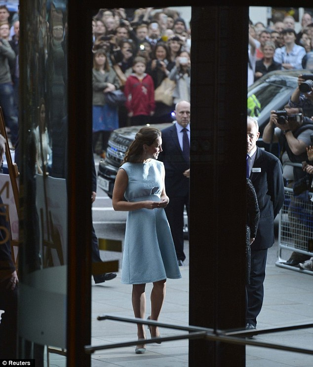 Glimpse at royalty: Crowds gathered to see the Duchess' arrival