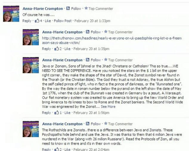 The anti-zionist comments made from the Facebook account of Anna-Marie Crampton