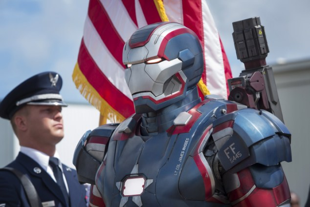 another hero: Actor Don Cheadle hides behind the armour as Iron Patriot