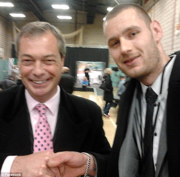 Controversial: Nigel Farage is pictured shaking hands with Chris Scotton , who is standing for the party in Leicester. Scotton has apparently 'liked' a Facebook group which suggests that racism is just 'ethnic banter'