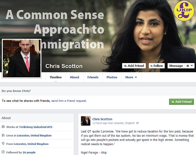 Mr Scotton appears to back the controversial far-right English Defence League on his Facebook page. This image shows his homepage