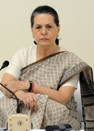 The victim was visited by Congress chief Sonia Gandhi, pictured, in hospital
