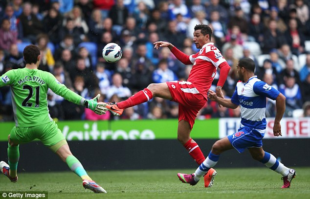 Chipping in: Jay Bothroyd tried a lob in the goalless draw at the Madejski