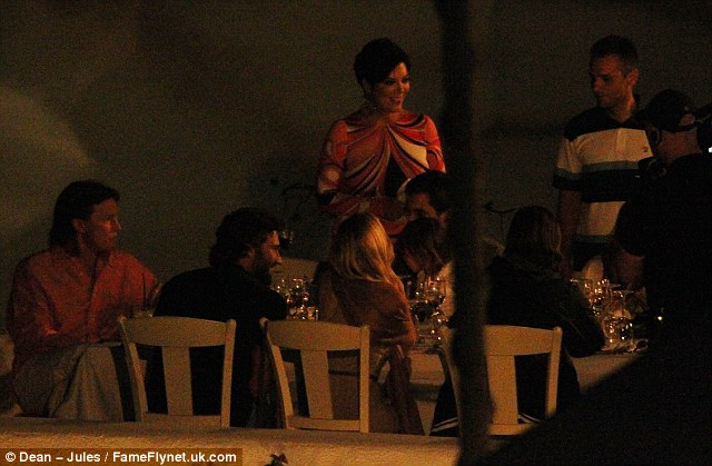 Smiling matriarch: Kris Jenner headed the group meal on their vacation