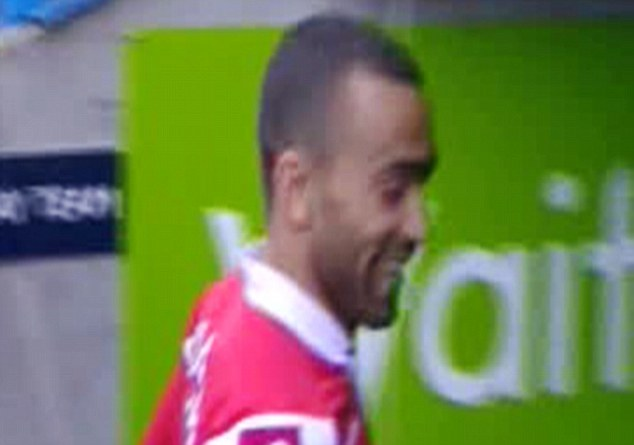 No laughing matter: Bosingwa is seen joking around just minutes after QPR are relegated on Sunday