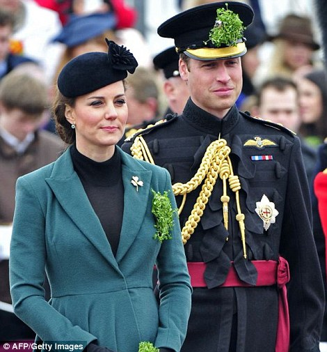 Ceremonial: The Duke of Cambridge wore an insignia aide to campe to the Queen for the first time at a St Patrick's day parade in March 2013