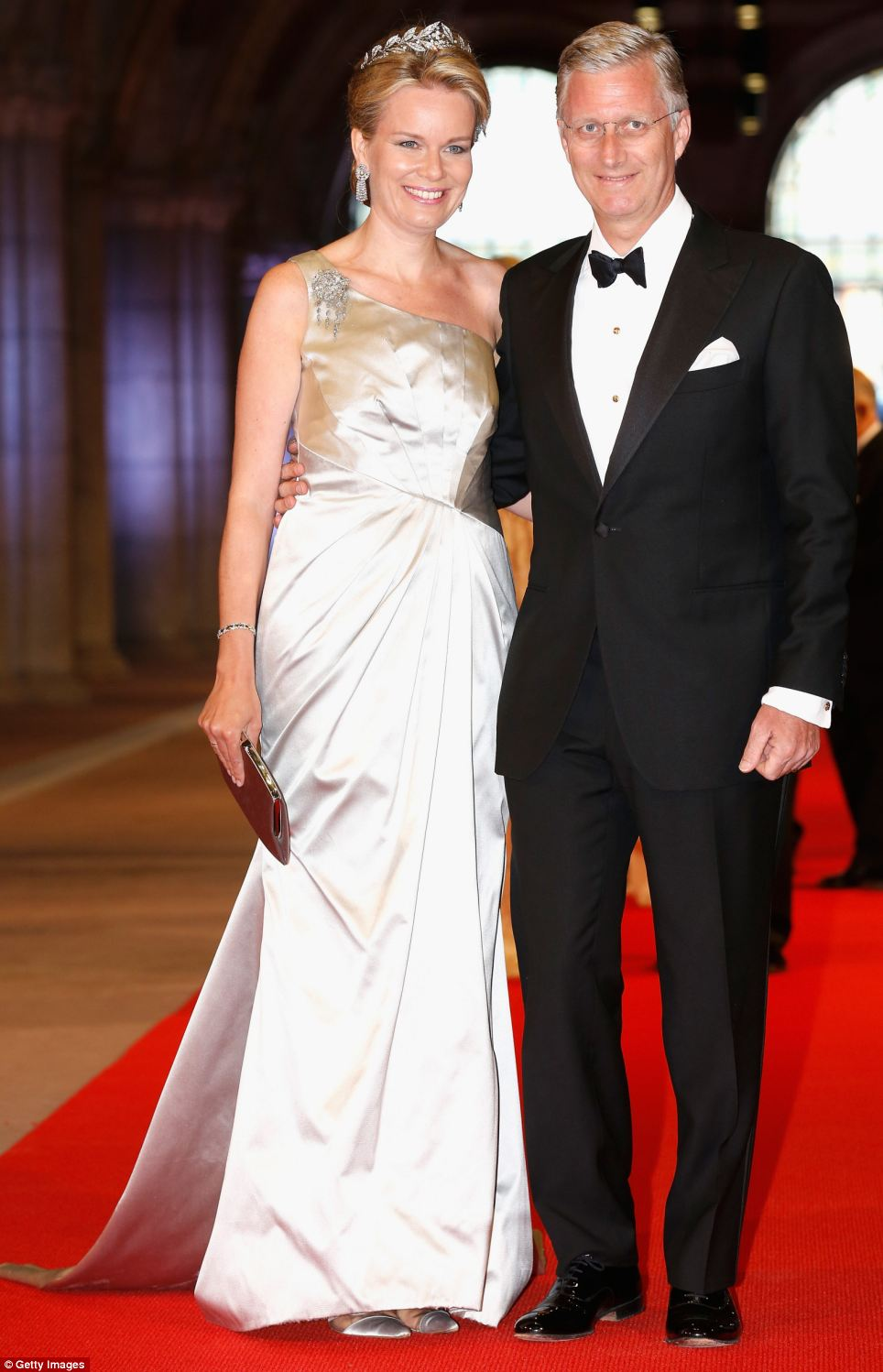 Princess Mathilde of Belgium (left) and Prince Philippe of Belgium (right) from the neighbouring country, were there to celebrate the change of monarchs