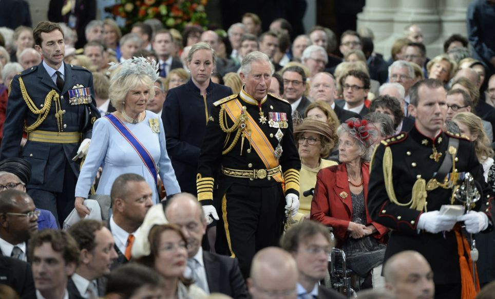 High profile guests: Prince Charles, Prince of Wales and Camilla, Duchess of Cornwall were among thousands of people who gathered in the decommissioned church