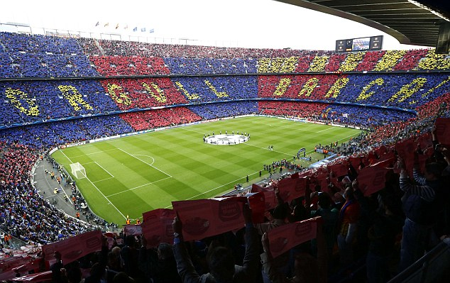 'Proud of Barca!': Barcelona's fans packed out the Nou Camp in the hope of seeing a comeback